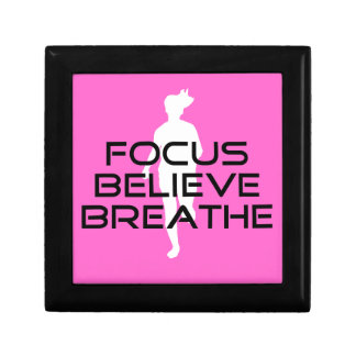 Pink Running Sports Focus Believe Breathe Keepsake Box
