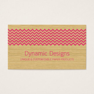 Pink Rustic Chevron Business Card