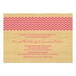 Pink Rustic Chevron Wedding Invite