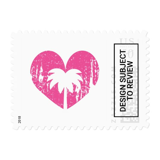 Pink rustic heart tropical palm tree wedding stamp