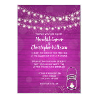Pink Rustic Mason Jar Lights Wedding Invitation