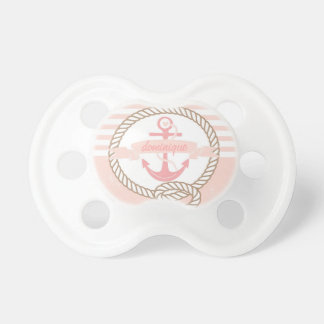 Pink Rustic Nautical Stripes Baby Name Pacifier