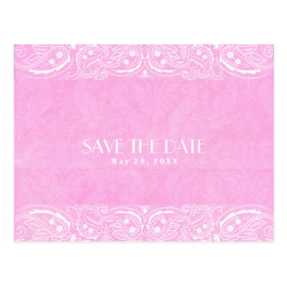 Pink Rustic Paisley Country Western Save The Date Postcard