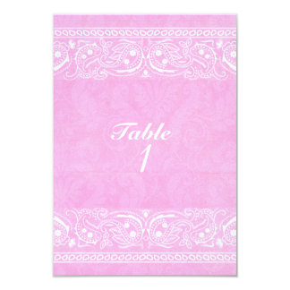 Pink Rustic Paisley Country Western Table Number Card