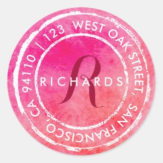 Pink Rustic Watercolor Monogram | Round Address Classic Round Sticker