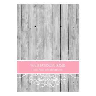 Pink Rustic Wood Custom Earring Card Large Business Card