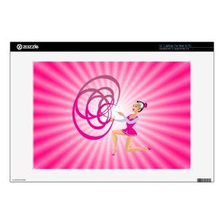 Pink Rythmic Gymnastics Ribbon Laptop Skins