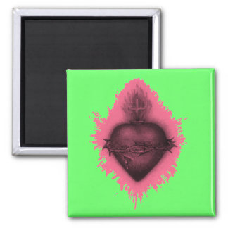 Pink Sacred Heart 2 Inch Square Magnet