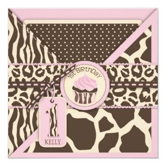 Pink Safari Animal Print & Cupcake First Birthday Card