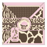 Pink Safari Animal Print & Cupcake Second Birthday Personalized Announcements