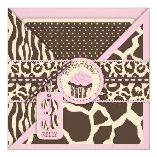 Pink Safari Animal Print & Cupcake Third Birthday 5.25x5.25 Square Paper Invitation Card