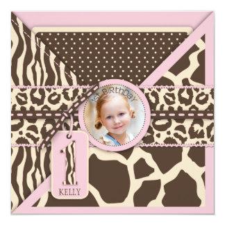 Pink Safari Animal Print First Birthday Personalized Invite