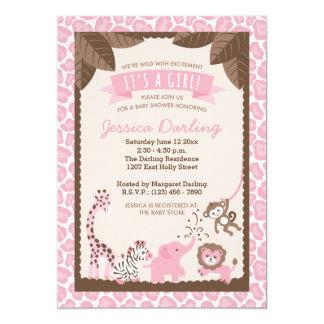 Pink Safari Animals Girl Baby Shower Invitations
