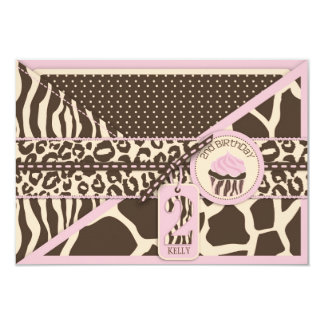 Pink Safari & Cucpake Second Birthday RSVP Card