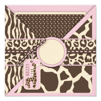 Pink Safari Giraffe & Cupcake Second Birthday Card
