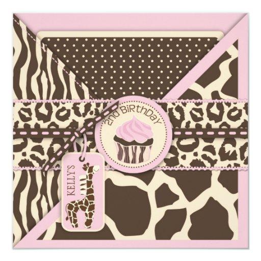Pink Safari Giraffe & Cupcake Second Birthday 5.25x5.25 Square Paper Invitation Card