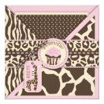 Pink Safari Giraffe & Cupcake Third Birthday Custom Announcements