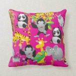 Pink Safari Jungle Animals Pillow