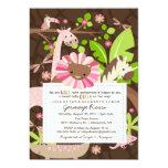 Pink Safari Jungle Baby Girl Shower or Sprinkle Card