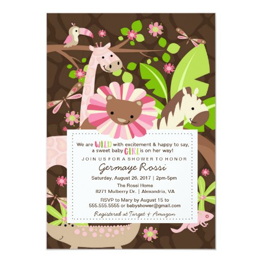 pink safari jungle baby girl shower or sprinkle card zazzle