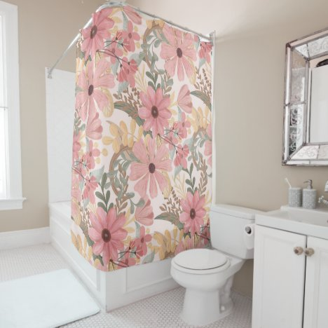 Pink Sage Green Floral Leaves Watercolor Pattern Shower Curtain
