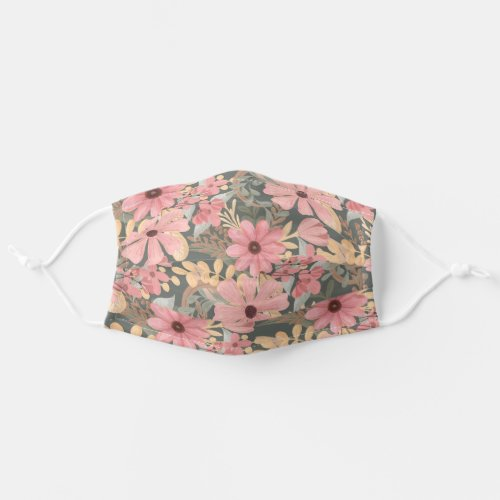 Pink Sage Green Flowers Leave Watercolor Safety Cloth Face Mask