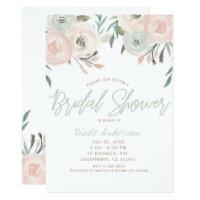 Pink & Sage Mint Green Modern Floral Bridal Shower Invitation