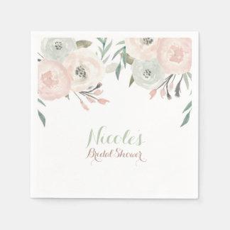 Pink & Sage Mint Green Modern Floral Elegant Paper Napkin