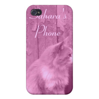 Pink Sahara cat customizable iPhone4 case Cases For iPhone 4