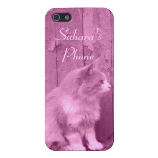Pink Sahara cat customizable iPhone 5 case