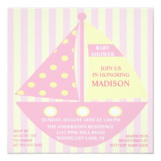 PINK SAILBOAT Baby Shower Card