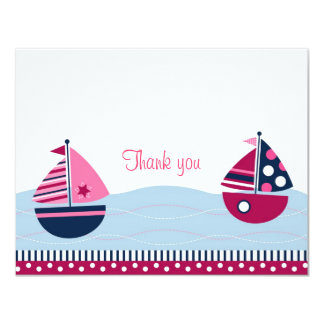 Pink Sailboat Girls Nautical Thank You Note Cards
