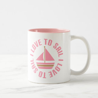 Pink Sailboat I Love To Sail Gift Two-Tone Coffee Mug