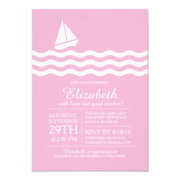 Beach Themed Pink Sailboat Nautical Baby Shower Invitation