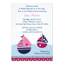 Pink Sailboat Nautical Baby Shower Invitations
