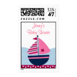 Pink Sailboat Nautical Baby Shower Postage Stamps