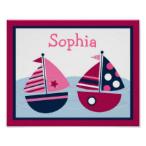 Pink Sailboat Nautical Nursery Wall Art Name Print