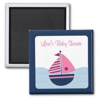 Pink Sailboat Nautical Party Favor Magnets