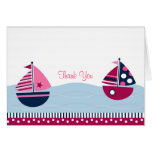 Pink Sailboat Nautical Thank You Note Cards