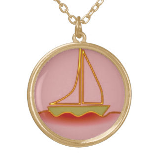 Pink Sailboat Round Pendant Necklace