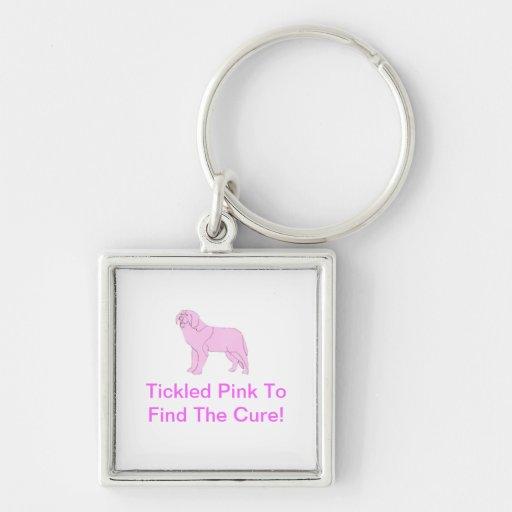 Pink Saint Bernard Key Chains