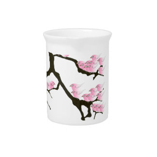 pink sakura and birds, tony fernandes beverage pitcher