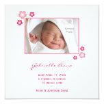 "Pink Sakura Baby Girl Birth Announcement 5.25"" Square Invitation Card"