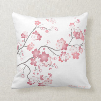 Pink Sakura Cherry Blossom Pillow -White