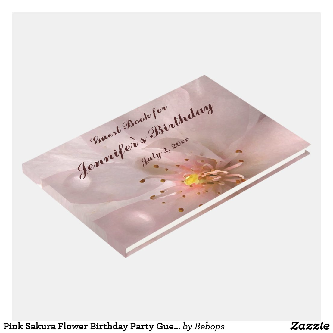 Pink Sakura Flower Birthday Party Guest Book