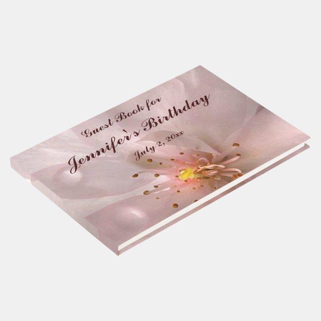 Pink Sakura Flower Birthday Party Guest Book