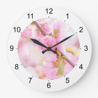 Pink sakura flowers - Japanese cherry blossom Large Clock