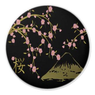 Pink Sakura Gold Black Japanese Screen Ceramic Knob