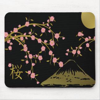 Pink Sakura Gold Black Japanese Screen Mouse Pad