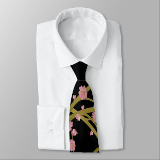 Pink Sakura Gold Black Japanese Screen Neck Tie
